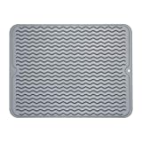 ZLR Silicone Dish Drying Mat Easy Clean Heat Resistant Hot Pot Holder Trivet Gray Large 15.8 inches X 12 inches