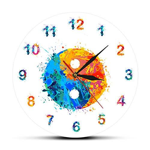 Reloj de Pared Acuarela Yin Yang Símbolo Boho Art Print Reloj de Pared Armonía y Equilibrio Decoración Zen Religión Feng Shui Reloj silencioso Reloj de Pared