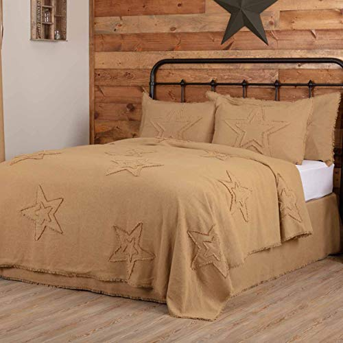 VHC Brands Burlap Star Bedding Accessory, King Coverlet 96x108, Natural Tan