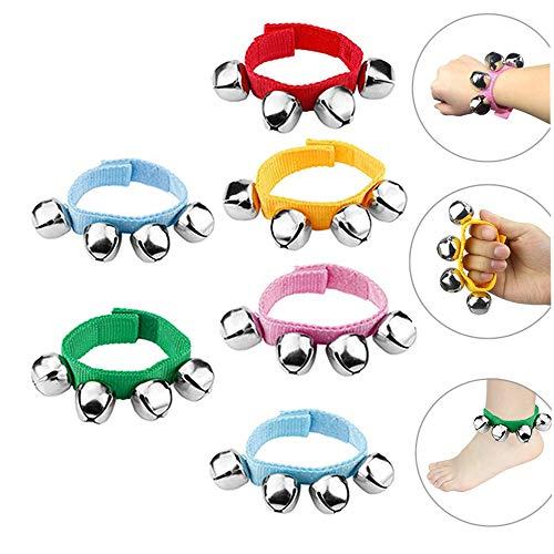 DQTYE - Pulseras de nailon y cascabeles para bebé, pulseras musicales de colores con cascabeles para la muñeca o el tobillo, instrumentos de cascabeles para niños, 6 unidades