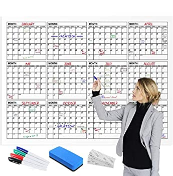 Jumbo Dry Erase Yearly Calendar 60  X 45  12 Month Reusable Wall Planner Includes 4 Markers 1 Eraser and Mounting Tape  60  X 45  Horizontal