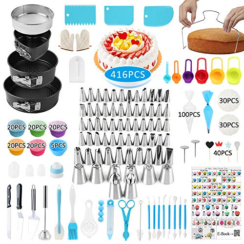 Cake Decorating Supplies, 416 PCS Baking Supplies Kit Set with 3 Springform Pan Sets, 64Icing Piping Nozzles, Cake Rotating Turntable, 40Cake Topper 100Piping Bags, 100Muffin Cup Molds, New YearGift