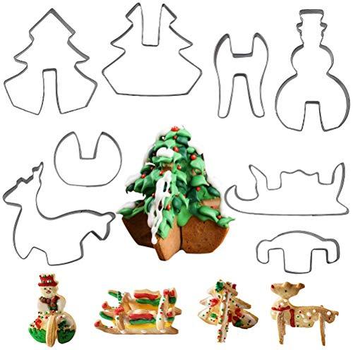 Molde para galletas de Navidad, tipo 3D, cortador de galletas de acero inoxidable, juego de 8, cortadores de...
