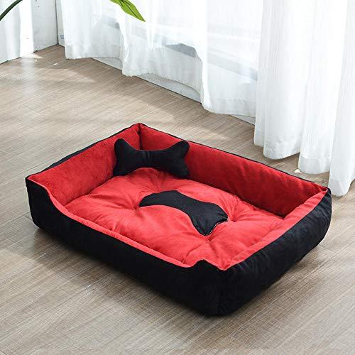 Cama para Mascotas, con una Alfombra Suave para Mascotas, Cama para Gatos Perros, Cama Suave de Felpa de tamaño Mediano -Caseta de Perro Rojo Negro_A-50 * 40 CM