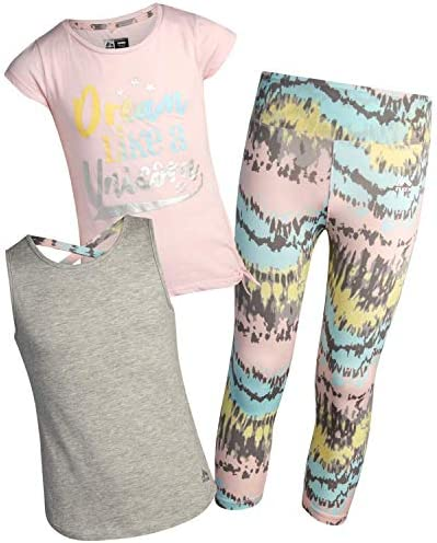 RBX Girls Activewear Set Short Sleeve Performance T Shirt Tank Top and Yoga Pants Leggings Set product image