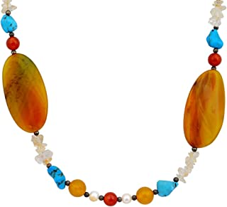 Orchid Jewelry Blue Beads Turquoise and Carnelian 925 Sterling Silver Necklace for Women: Nickel Free Beautiful and Stylish Birthday Gift for Mother and Wife