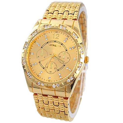 Relojes Hombre,Xinan Metal del Diamante Venda Cuarzo Analógico Reloj Pulsera (Oro)