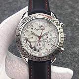 Herrenuhren Top Automatik Mechanische Uhren Silber Leder Leinwand Leuchtend Rot Blau Gelb Mond Uhr Glas zurück (10)