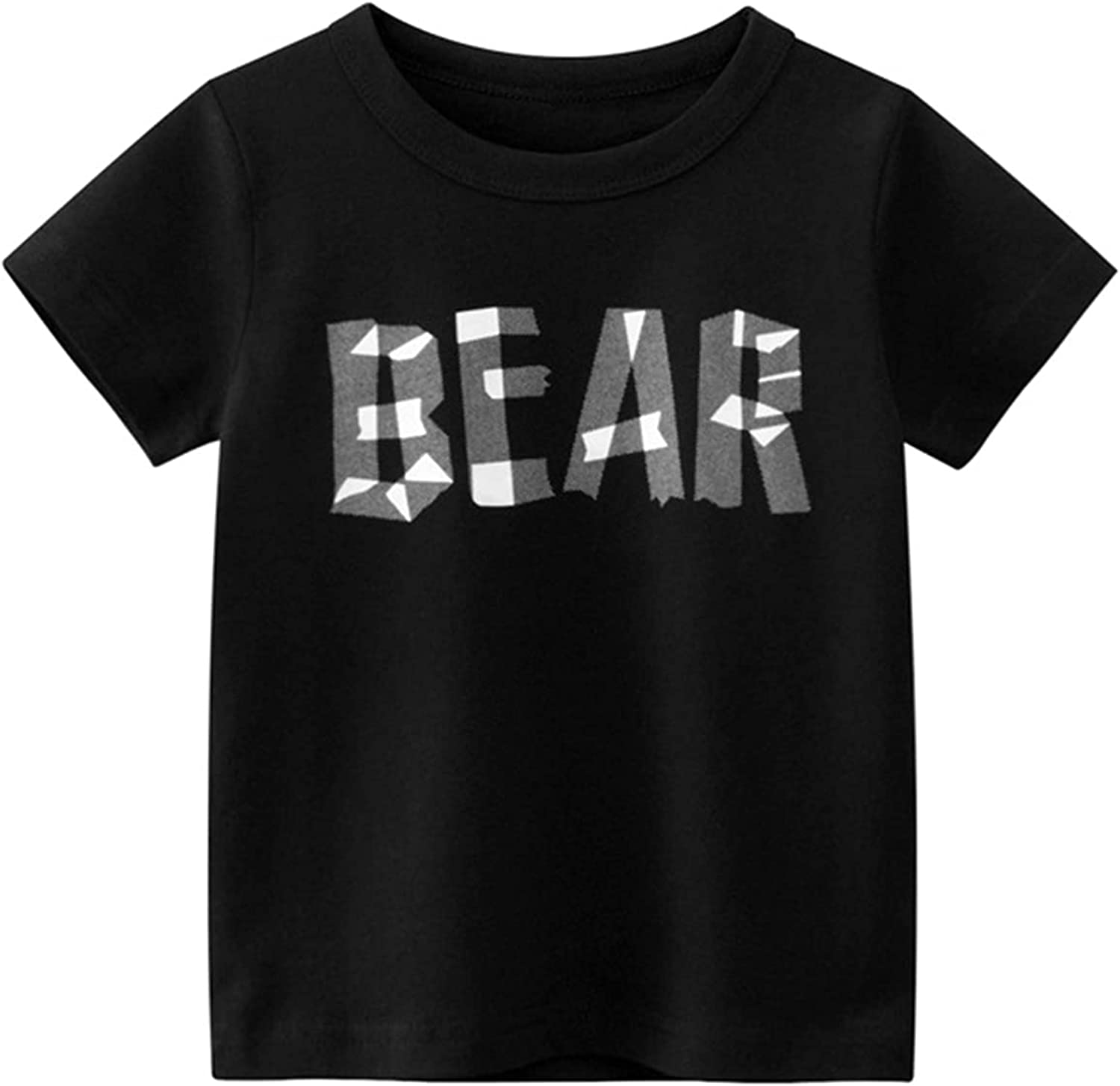 Baby Boys Casual T-Shirt Short Sleeve Bear Letters Print Tee Shirt Tops Summer Clothes 1-6 Years