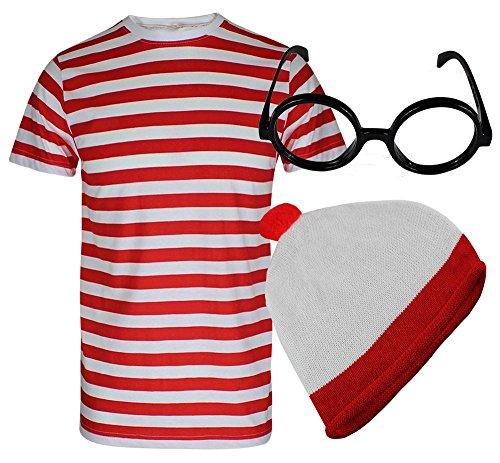 Pour Garçons Mesdames où est charlie ? T rayé rouge et blanc pour femme dénudée pour femme déguisement