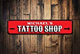 Free Brand Retro Metal Tin Sign Vintage Tattoo Shop Sign Personalized Tattoo Artist Name Gift Custom Directional Arrow Ink Lover Man Cave Decor Tattoo Shops Funny Retro Signs