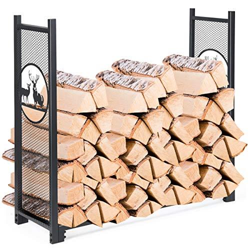 GOPLUS Kaminholzständer aus Eisen, Kaminholzhalter für Brennholz, Kaminholzregal, für Innen- und Außenbereich, große Kapazität für Feuerholz, Schwarz, 126,5 x 38 x 117 cm