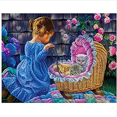 Pintar por números vestido azul niña y cuna gato lindo para adultos niño principiante decoración fantasía con pinceles 40X50CM-With Frame