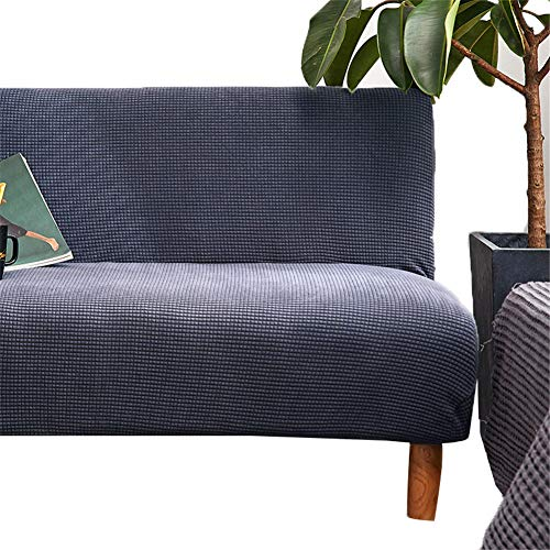 GHP Sofa-Schonbezug, Polyester, Spandex, Stretch, dick, für 1/2/3/4-Sitzer, Reine Farbe, ohne Armlehnen, waschbar, Anti-Milben und Faltenbildung, Blaugrau, Large