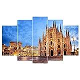 104Tdfc Cuadro - Impresion EN Lienzo -Noche Piazza del Duomo Catedral de Milán Grande Cuadros sobre el Lienzo,Composición de 5 Cuadros Impresiones sobre Lienzo 5 Cuadros En Lienzo Innovador Regalo