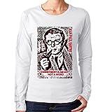 Photo de teesquare1st Women's Jean Paul Sartre Commitment Quote White Long Sleeved T-Shirt Size XXLarge par