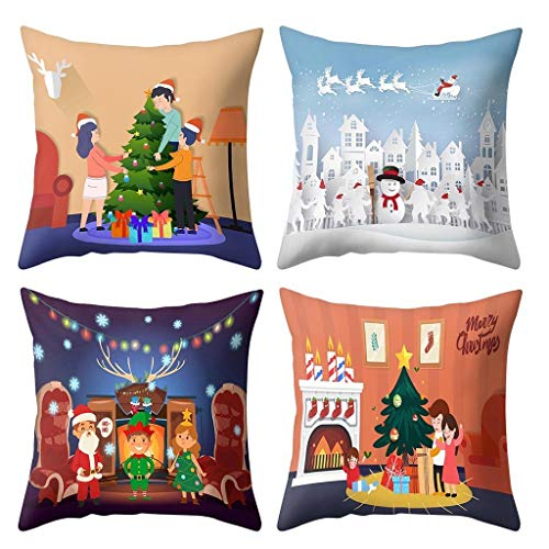 Zimuuy Christmas Series Cushion Covers for Family 18 x 18 inch Christmas Decorations Pillow Covers Set of 4 Cartoon Santa Claus Pillowcase (B)