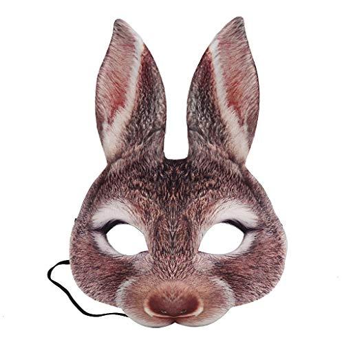 DALIN Disfraz de conejo de Pascua para fiesta de carnaval de Halloween y media cara con orejas de conejo