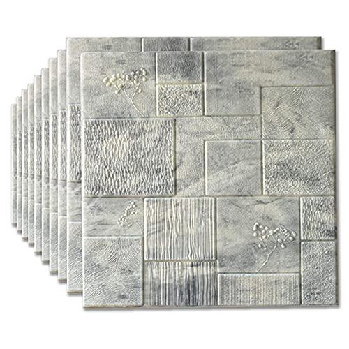 showyow - Paneles de pared autoadhesivos 3D con aspecto de piedra blanca 3D, ladrillo de papel pintado para niños, dormitorio, salón, moderno, TV, dormitorio, salón, decoración, 70 x 70 cm (A)
