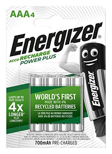Energizer AAA Akkus, Recharge Power Plus Akku, 4 wiederaufladbare Batterien AAA