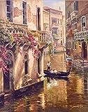 ZHJJD Cartel de la Ciudad de Venecia Paisaje clásico Pintura en Lienzo Carteles de paisajesRetro Impresiones imágenes artísticas de Pared Sala de Estar decoración del hogar 60x80cm sin Marco