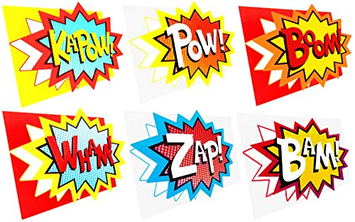 Superhero Party Decorations – 6 Super Hero Word Cutouts - NO BENT CORNERS Protective Packaging - Superhero Decorations Action Sign Cut-Out for Superhero Themed Birthday Party Decor Photo Booth Props