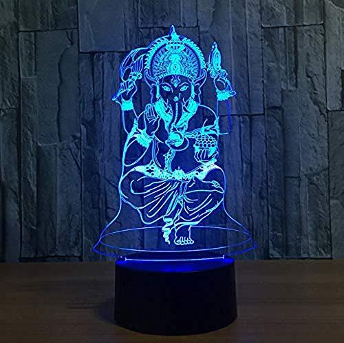 3D Illusion Night Light bluetooth Smart Control 7 & 16M Color Mobile App Led Vision India Lord Elefante Dio Remot Tavolo Compleanno colorato Regalo creativo