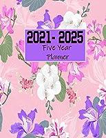 2021-2025 Five Year Planner: 60 Months Yearly Planner Monthly Calendar White Orchid Pink Wild Pattern | Agenda Logbook| Schedule Organizer| Daily