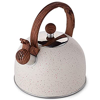 Tea Kettle - VONIKI 2.5 Quart Tea Kettles Stovetop Whistling Teapot Stainless Steel Tea Pots for Stove Top Whistle Tea Pot With Wood Pattern Anti-Hot Handle Teakettle White