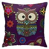 WAZHIJIA Mandala Floral Ornamental Owl Decorative Throw Pillow Covers 18 X 18 Inch,Cushion Cover Square Pillow Cases for Car Sofa Home Decor Pillowcase