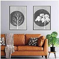 クリスマスキャンバス絵画灰色の白い木のシルエットポスター抽象的なポスターアート壁の写真リビングルームの装飾のための50x75cmx2Pcsフレームレス