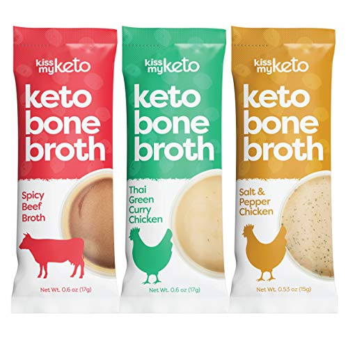 Kiss My Keto Bone Broth Powder Travel Packets — Collagen Protein (9g) + MCT Oil, 18 Amino Acids | Low Carb Variety (15 Pack) Thai Chicken, Pepper Chicken & Beef | Instant Bone Broth — Single Servings