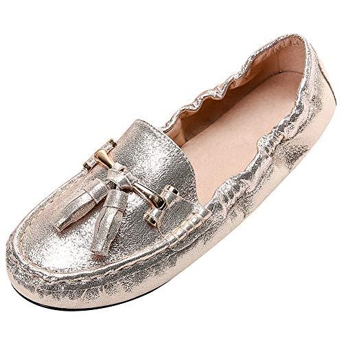 rismart Mujer Mocasin Planas Suave Loafer Plegable Vestir Zapato SN02531(Oro,38 EU)