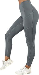 comprar comparacion VJGOAL Moda Casual de Mujer Color sólido Cintura Alta Leggings Gimnasio Deportes Gimnasio Correr con Elasticidad Atlético ...