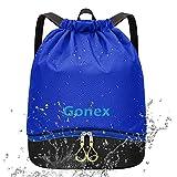 Gonex Mochila de Cuerdas Unisex con Bolsas Zapatos Impermeable para Gimnasio Deporte Yoga Senderismo Bicicleta Natación Viajes, Saco de Cordón Seco Húmedo Separado para Hombre Mujer Niños, Azul
