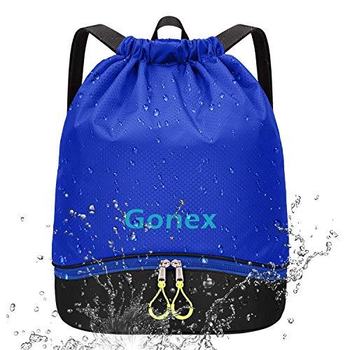 Gonex Mochila de Cuerdas Unisex con Bolsas Zapatos Impermeable para Gimnasio Deporte Yoga Senderismo Bicicleta Natación Viajes, Saco de Cordón Seco Húmedo Separado para Hombre Mujer Niños