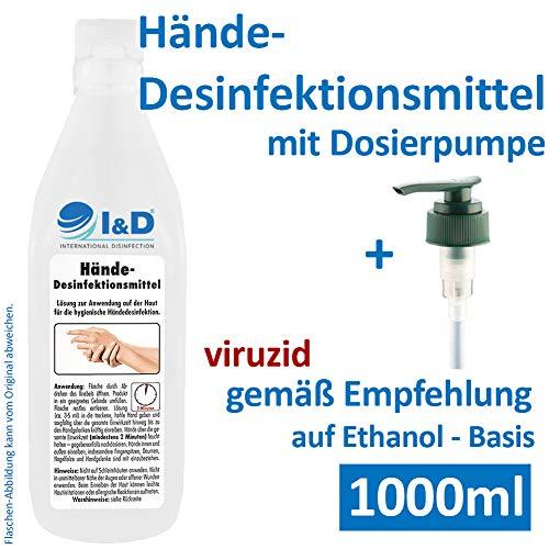 MABU Desinfektionsmittel Hand 1l INKL. DOSIERPUMPE - 1000ml IDSept Handdesinfektionsmittel Desinfektion gegen 99,9% Aller Viren