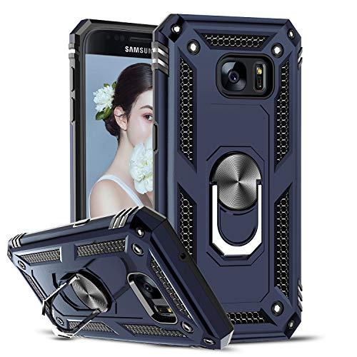 LeYi per Cover Samsung Galaxy Sam S7 Custodia Silicone TPU Antiurto Protettivo, 360°Rotante Anello Magnetica Supporto Difesa Militare Case Bumper Custodie per Originale Samsung Galaxy Sam S7 Blu