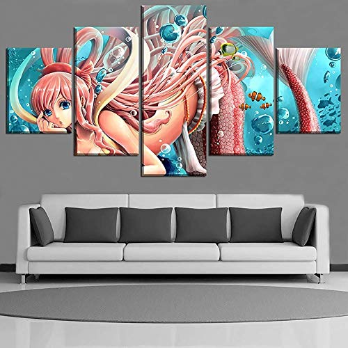 HD Prints on Canvas Picture Paintings 5 Panel Anime Monkey D. Luffy Poster Print Canvas Painting Wall Decor for Home Decor,I,30x402+30x602+30x801