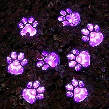 Solar String Lights Outdoor 8 LEDs Paw Print Lights Waterproof Purple Lights 21 Feet 8 Modes