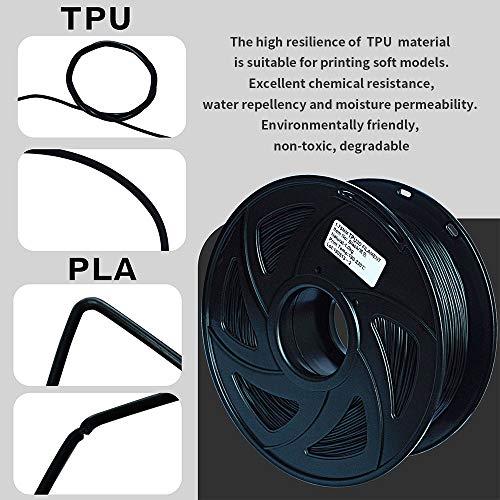 3D Flexible Black TPU Filament 1.75 mm, 2.2 LBS (1KG) Material: TPU,Hardness 95A