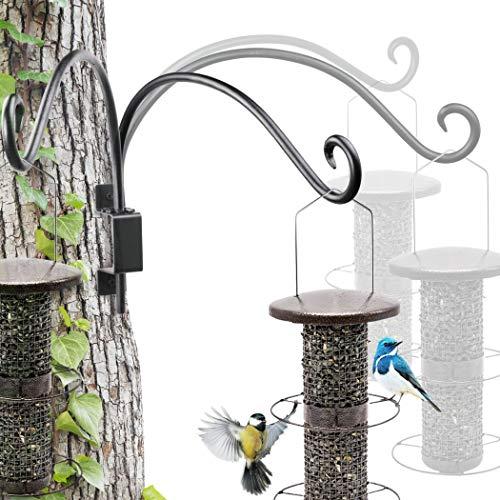 Lifyzoon Swivel Hanging Plant Bracket (16'/Black) Hanging Plant Hanger Hook Outdoor Bird Feeder for Flower Basket, Wind Chime, Lantern, Wall Plant Hanger