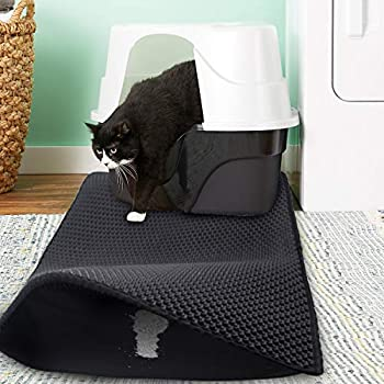 Morfone Tapis de litière pour chat, grande taille 75 * 61cm Panier à litière Tapis de litière en nid d'abeille pour chat