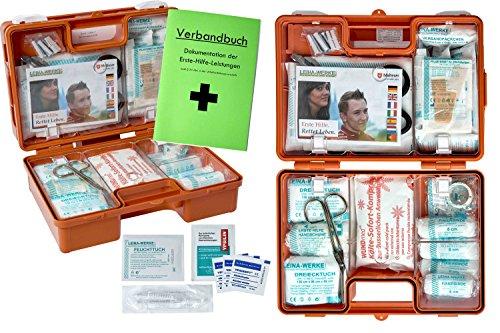 Erste-Hilfe-Koffer BG für Betriebe DIN 13157 + DIN 13164 für KFZ - MIT 90°-Arrettierung zur Öffnung an der Wand incl. Verbandbuch, Haut + Wundreinigung