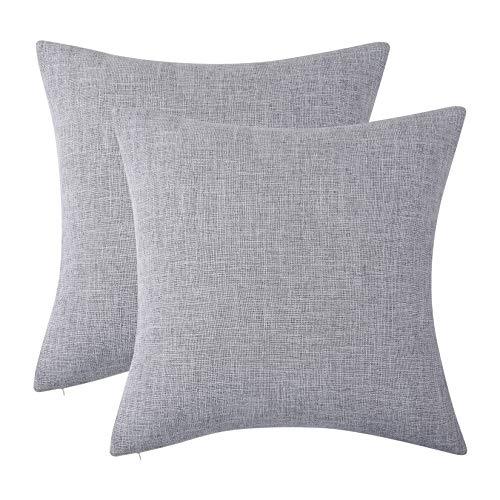 LinTimes Funda de cojín cuadrada de lino sintético con cremallera invisible para sofá cama, 45,7 x 45,7 cm, juego de 2, color gris