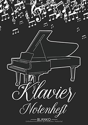 Klavier Notenheft Blanko: Notenheft DIN A4 Mit 110 Seiten - Notenpapier für Kinder und Erwachsene, Notenblock, Musikheft, Notenbuch, Notenblätter - Motiv: Klavier Flügel Noten Schwarz