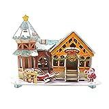 YeahiBaby 3D-Puzzle, Weihnachtshaus, Puppenhäuser, Handbemalt, bunt, Zeichnung, Hut aus Papier,...