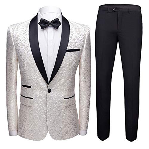 Mens 2 Piece Floral Jacquard Dress Suit Set 1 Button Print Dinner Jacket Pants White