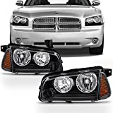 For 2006-2010 Dodge Charger Black Headlights + Amber Corner Signal Lights (Left and Right) Raeplacement