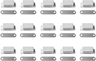 Timiy Household Cabinet Door White Plastic Shell Magnetic Catch Latch Plate 15pcs (Small Magnetic Suction)